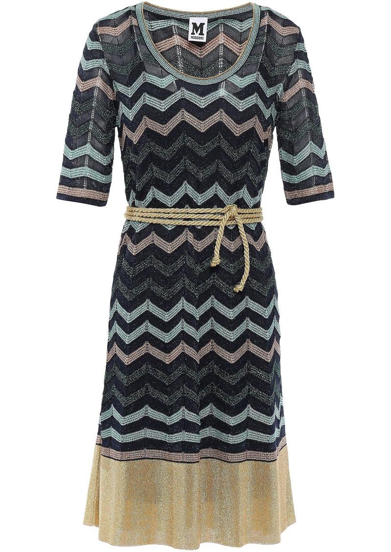 M Missoni Woman Belted Metallic Crochet-knit Dress Navy
