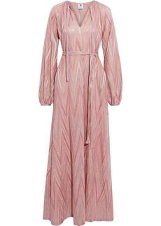 M Missoni Woman Belted Metallic Crochet-knit Maxi Dress Antique Rose