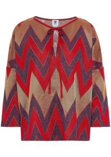 M Missoni Woman Bow-detailed Metallic Crochet-knit Blouse Red