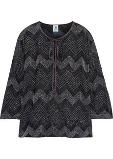 M Missoni Woman Bow-detailed Metallic Crochet-knit Top Black