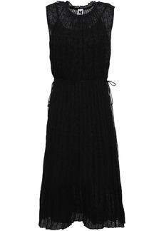 M Missoni Woman Bow-detailed Pleated Crochet-knit Cotton-blend Dress Black