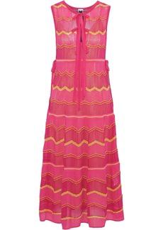 M Missoni Woman Bow-detailed Striped Crochet-knit Cotton-blend Midi Dress Pink