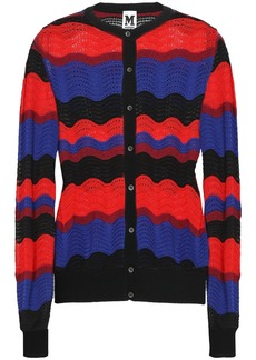 M Missoni Woman Color-block Pointelle-knit Cardigan Red