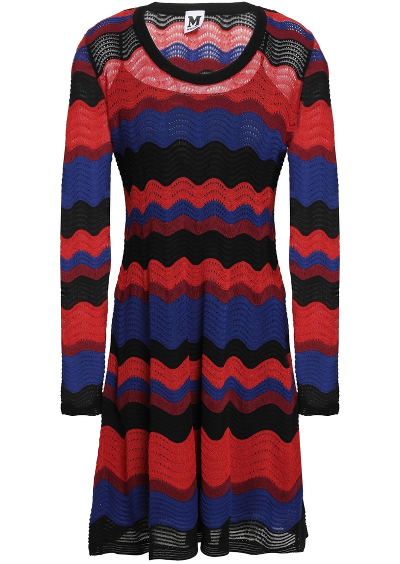 M Missoni Woman Color-block Pointelle-knit Mini Dress Crimson