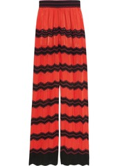 M Missoni Woman Cotton-blend Crochet-knit Wide-leg Pants Red