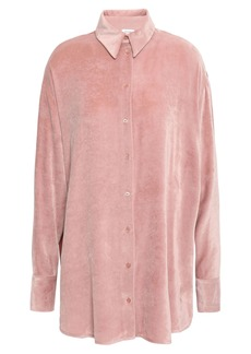 M Missoni Woman Crepe De Chine-paneled Velvet Shirt Antique Rose