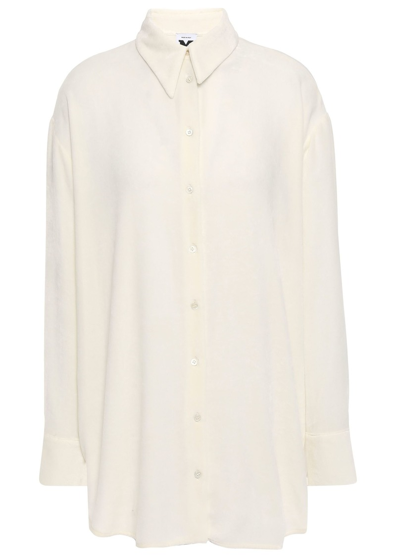 M Missoni Woman Crepe De Chine-paneled Velvet Shirt Ecru