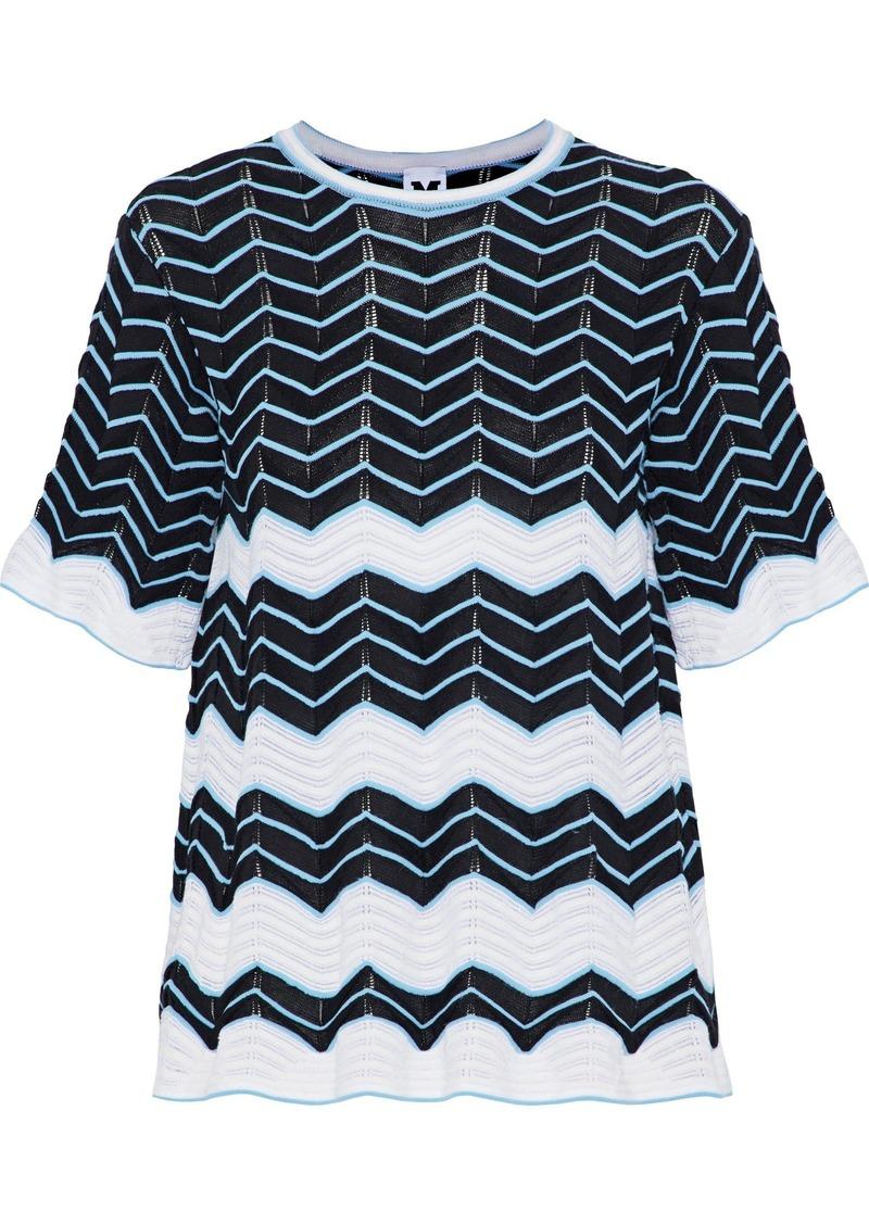 M Missoni Woman Jacquard-knit Cotton-blend Top Black