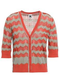 M Missoni Woman Crochet-knit Cotton-blend Cardigan Bright Orange