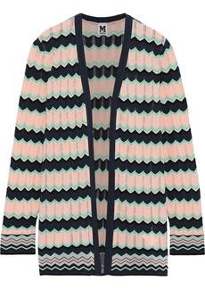 M Missoni Woman Crochet-knit Cotton-blend Cardigan Peach