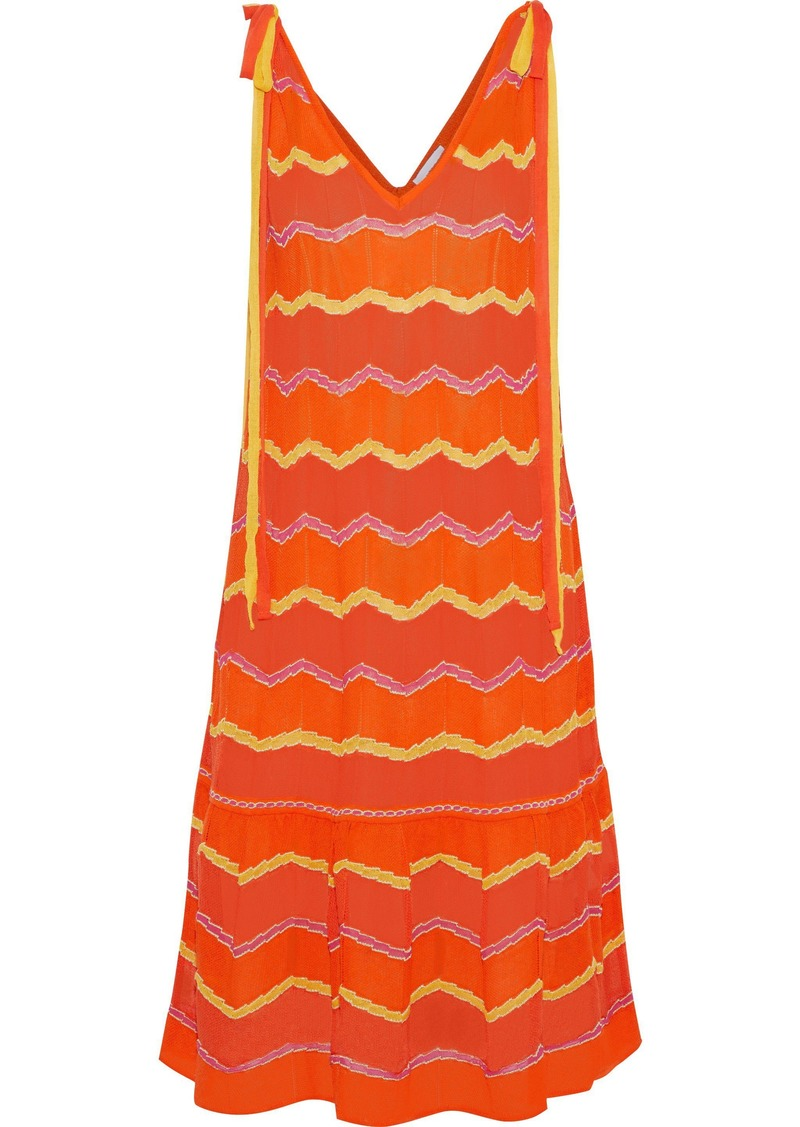 M Missoni Woman Crochet-knit Cotton-blend Dress Orange