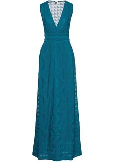 M Missoni Woman Crochet-knit Cotton-blend Maxi Dress Teal