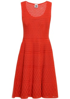 M Missoni Woman Crochet-knit Cotton-blend Mini Dress Bright Orange