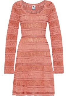 M Missoni Woman Crochet-knit Cotton-blend Mini Dress Peach