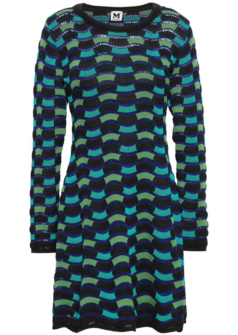 M Missoni Woman Crochet-knit Cotton-blend Mini Dress Royal Blue