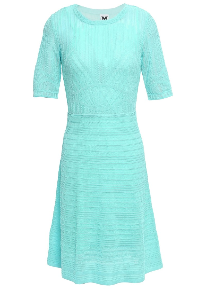 M Missoni Woman Crochet-knit Cotton-blend Mini Dress Turquoise