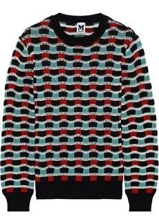 M Missoni Woman Crochet-knit Cotton-blend Sweater Brick