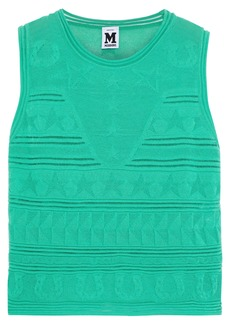 M Missoni Woman Crochet-knit Cotton-blend Top Jade