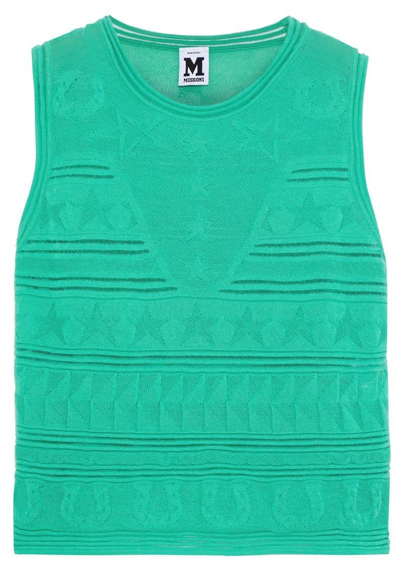 M Missoni Woman Crochet-knit Cotton-blend Top Jade