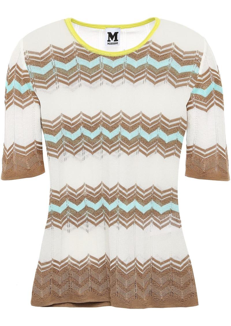 M Missoni Woman Crochet-knit Cotton-blend Top White