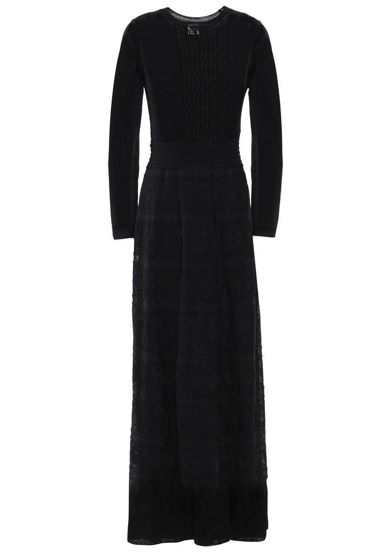 M Missoni Woman Crochet-knit Maxi Dress Black