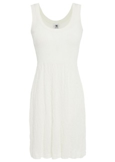 M Missoni Woman Crochet Knit-paneled Ribbed Cotton Mini Dress White