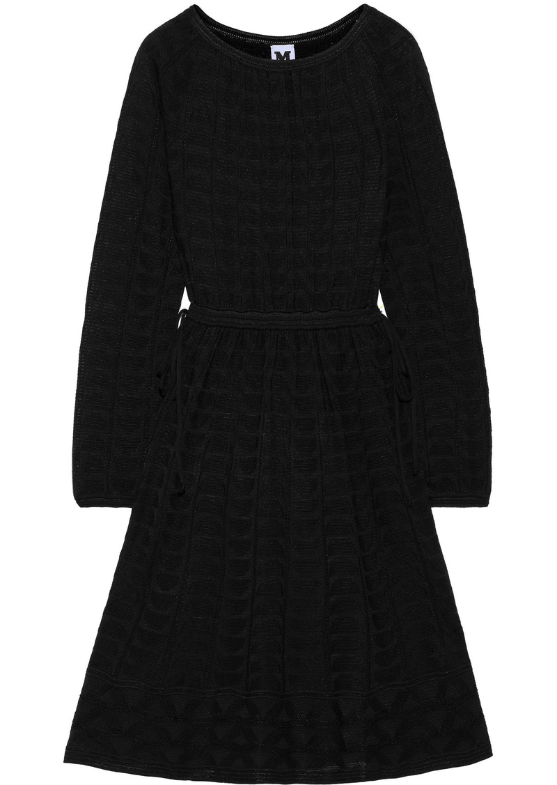 M Missoni Woman Gathered Crochet-knit Wool-blend Dress Black