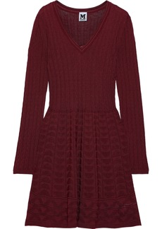 M Missoni Woman Crochet-knit Wool-blend Dress Burgundy