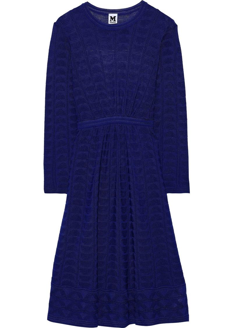 M Missoni Woman Gathered Crochet-knit Wool-blend Dress Indigo