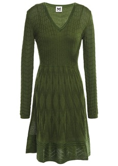 M Missoni Woman Crochet-knit Wool-blend Dress Leaf Green