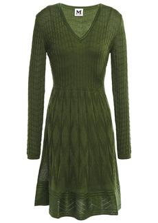 M Missoni Woman Flared Crochet-knit Wool-blend Dress Leaf Green