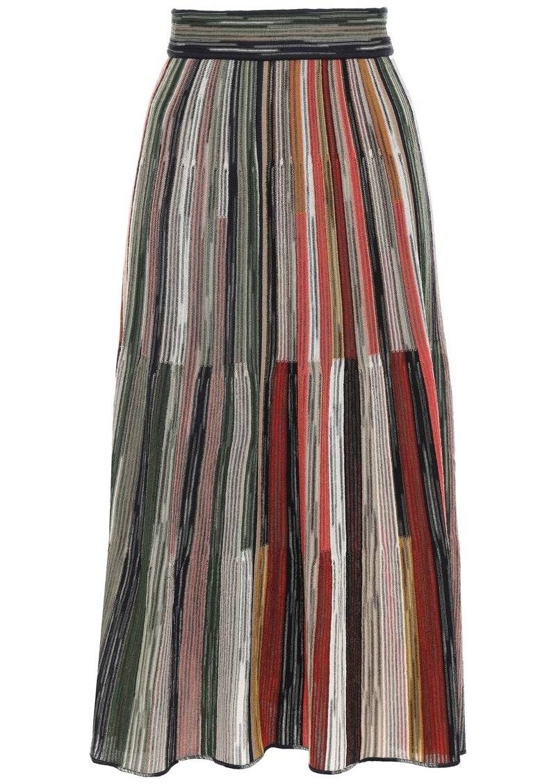M Missoni Woman Crochet-knit Wool-blend Midi Skirt Multicolor