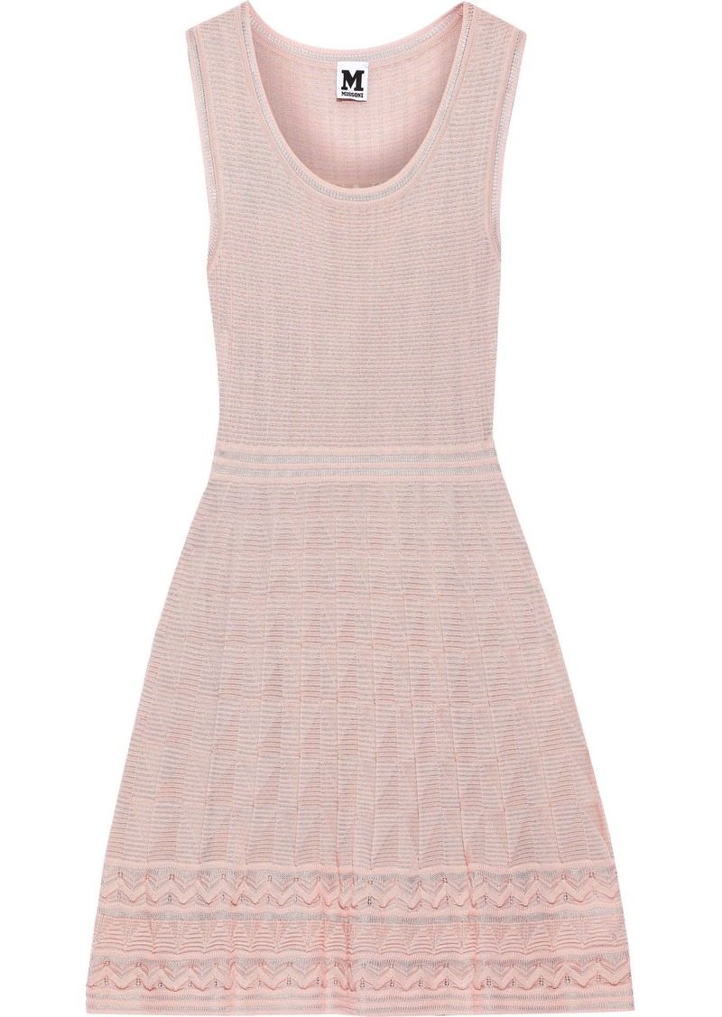 M Missoni Woman Crochet-knit Wool-blend Mini Dress Pastel Pink