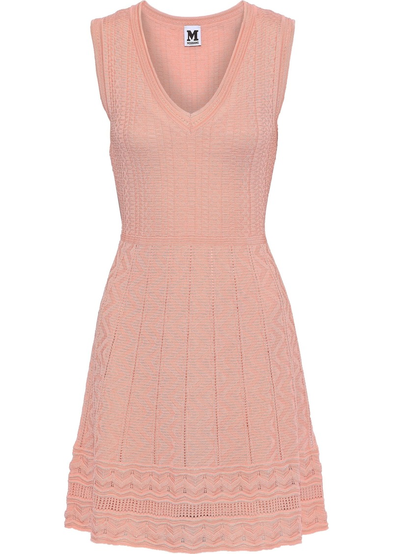 M Missoni Woman Crochet-knit Wool-blend Mini Dress Peach