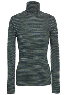 M Missoni Woman Crochet-knit Wool-blend Turtleneck Top Dark Green