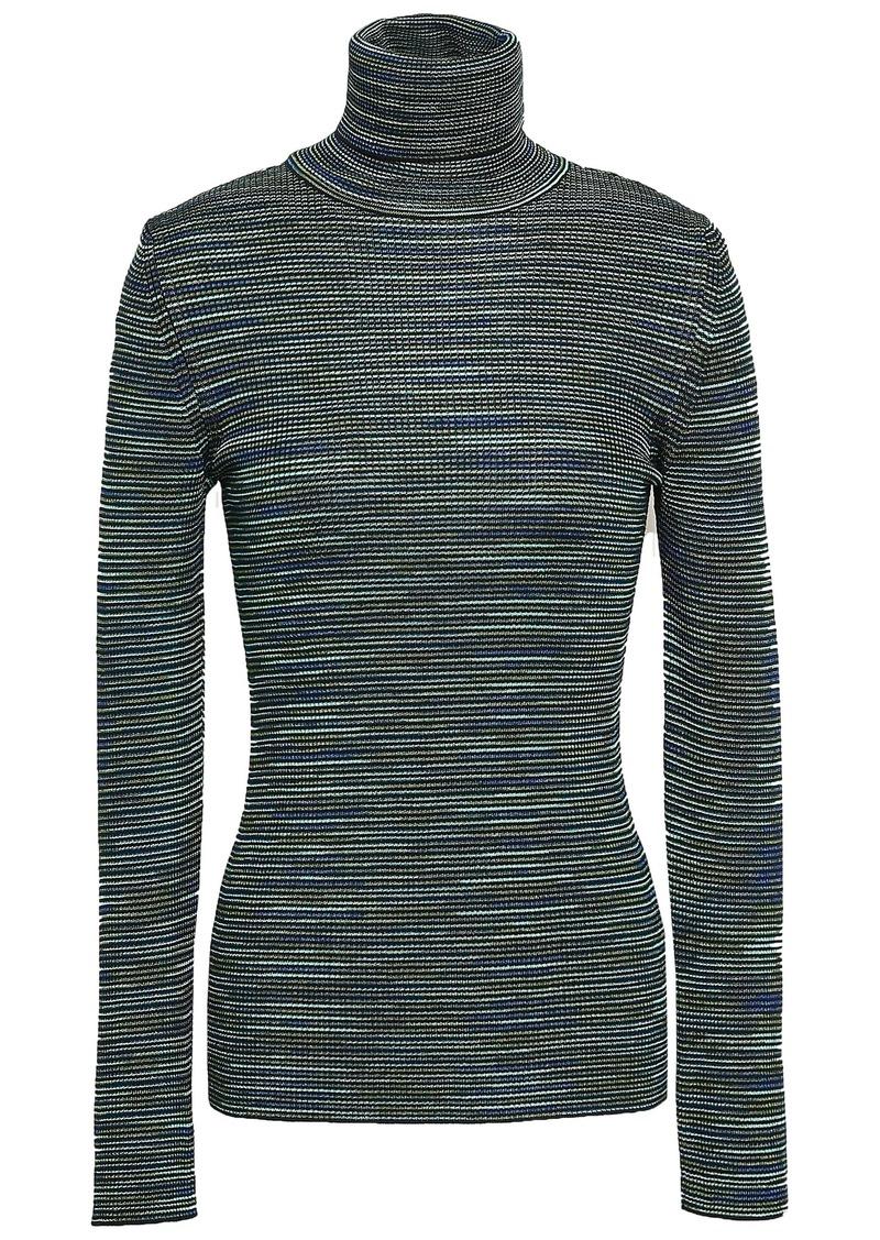 M Missoni Woman Crochet-knit Wool-blend Turtleneck Top Dark Green