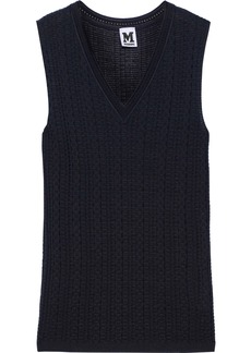 M Missoni Woman Crochet-knit Wool-blend Vest Navy