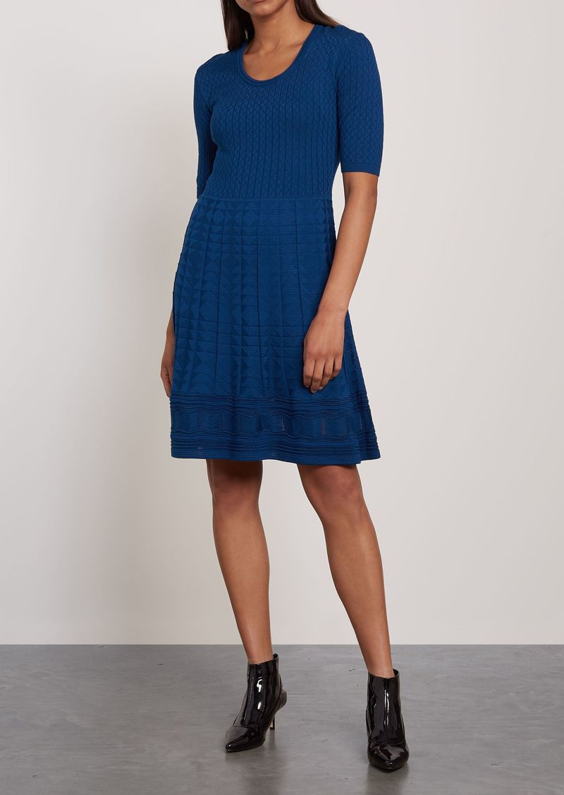 M Missoni Woman Crocheted Wool-blend Mini Dress Cobalt Blue