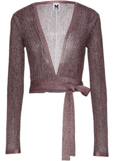 M Missoni Woman Cropped Metallic Pointelle-knit Wrap Top Rose Gold