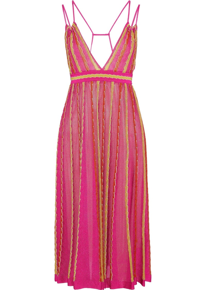 M Missoni Woman Cutout Metallic Crochet-knit Dress Fuchsia