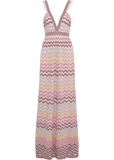 M Missoni Woman Cutout Metallic Crochet-knit Maxi Dress Baby Pink