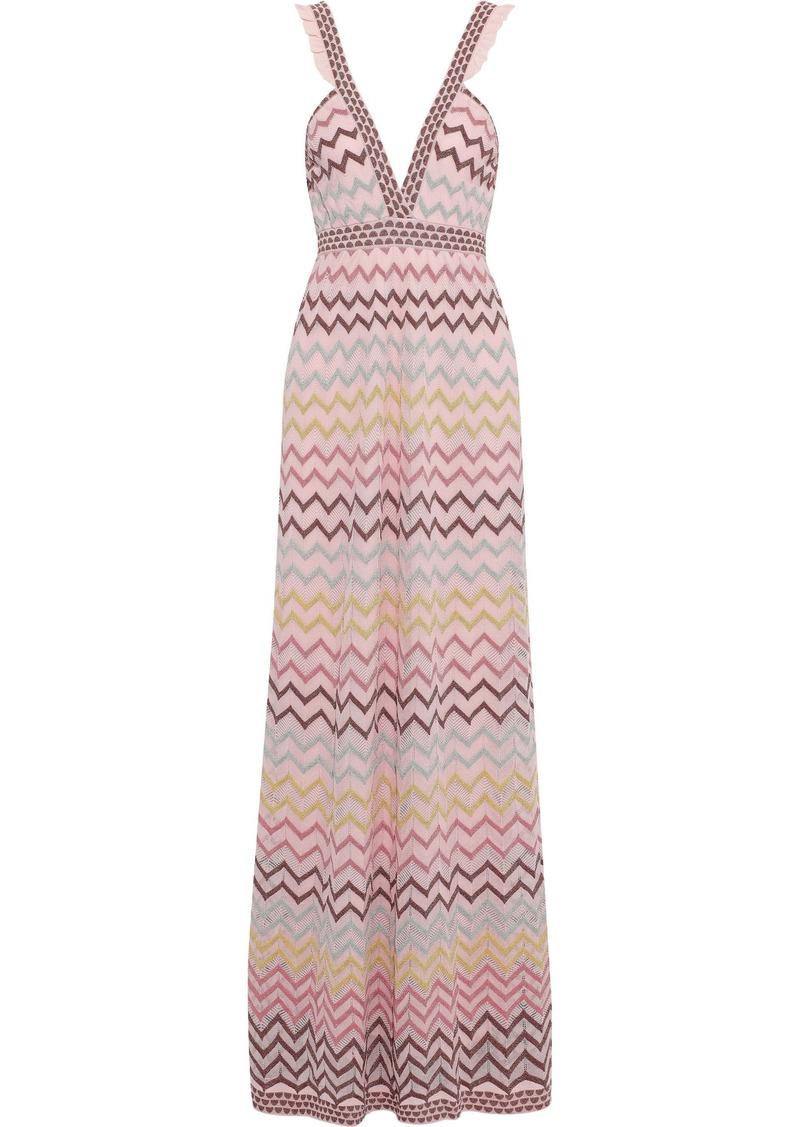 M Missoni Woman Metallic Crochet-knit Maxi Dress Baby Pink