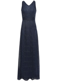 M Missoni Woman Cutout Metallic Crochet-knit Maxi Dress Midnight Blue