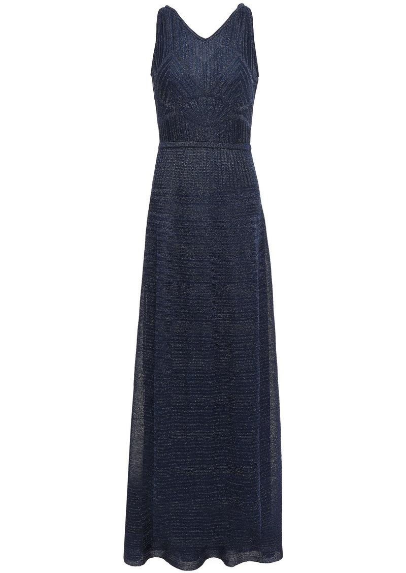 M Missoni Woman Cutout Metallic Crochet-knit Maxi Dress Midnight Blue
