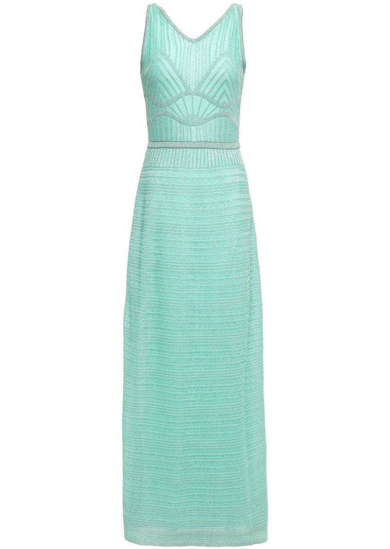 M Missoni Woman Cutout Metallic Crochet-knit Maxi Dress Turquoise
