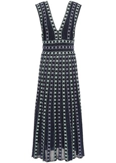 M Missoni Woman Cutout Metallic Jacquard-knit Midi Dress Navy
