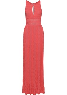 M Missoni Woman Cutout Pleated Crochet-knit Cotton-blend Gown Papaya