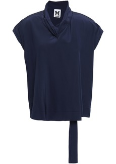 M Missoni Woman Draped Silk Crepe De Chine Blouse Navy