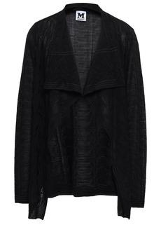 M Missoni Woman Draped Wool-blend Jacquard Cardigan Black