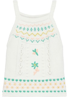 M Missoni Woman Embroidered Cotton-blend Top White